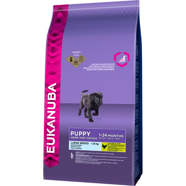 Torrfoder Hund  Puppy Large Breed Chicken 15 kg Eukanuba